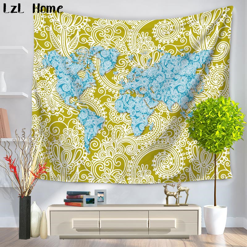 LzL Home Antique Map Tapestry Wall Hanging Polyester Fabric Wall ...