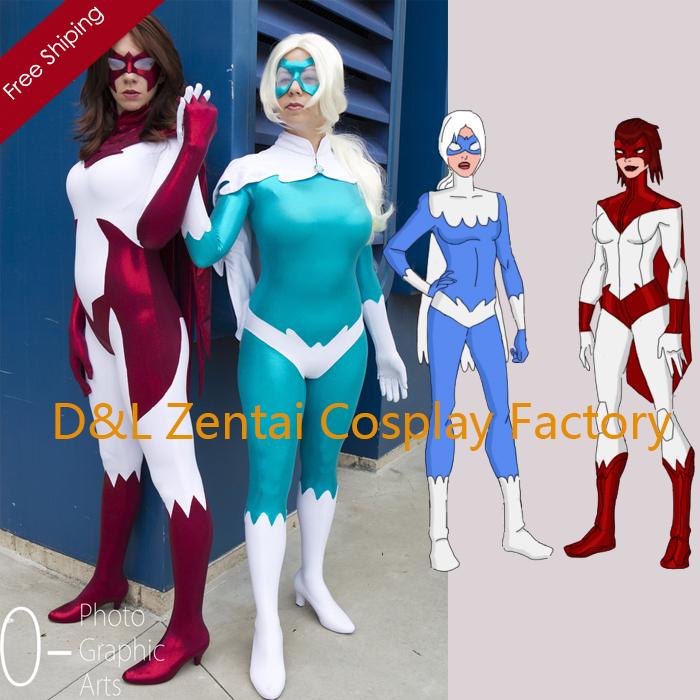Free Shipping DHL DC Comics Hawk Hank Hall And Dove Spandex Female Dove Superhero Costume Cosplay Halloween Costume