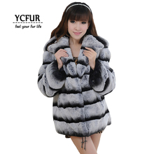 New Arrival Luxury Women Fur Coats Winter Full Pelt Rex Rabbit Fur Jackets With Hood Imitate Chinchilla Fur Coat YC315
