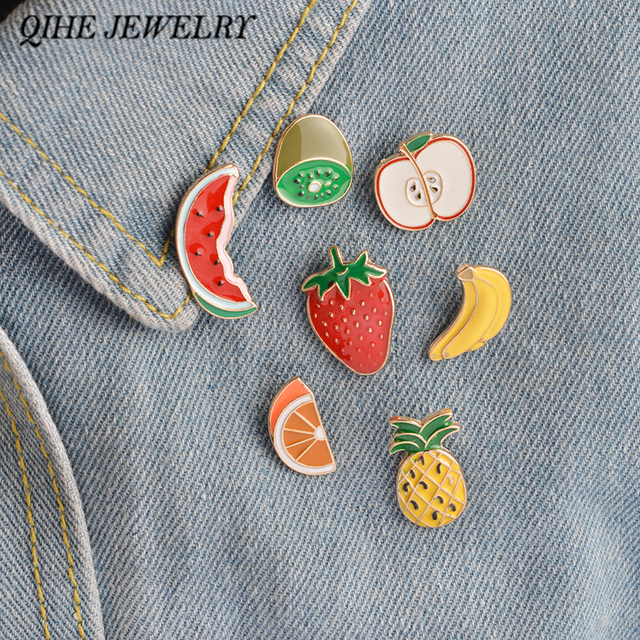 QIHE PERHIASAN 7 PCS/Set Semangka Kiwi Strawberry Orange Pisang Apple Buah Nanas Buah Bros Pin Lencana Antik Perhiasan