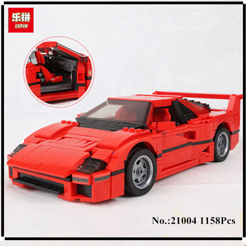 IN STOCK   1158pcs LEPIN 21004 F40 Sports Car Model Building Blocks Kits Bricks Toys For Children Compatible with toy new lepin 22001 pirate ship imperial warships model building kits block briks toys gift 1717pcs