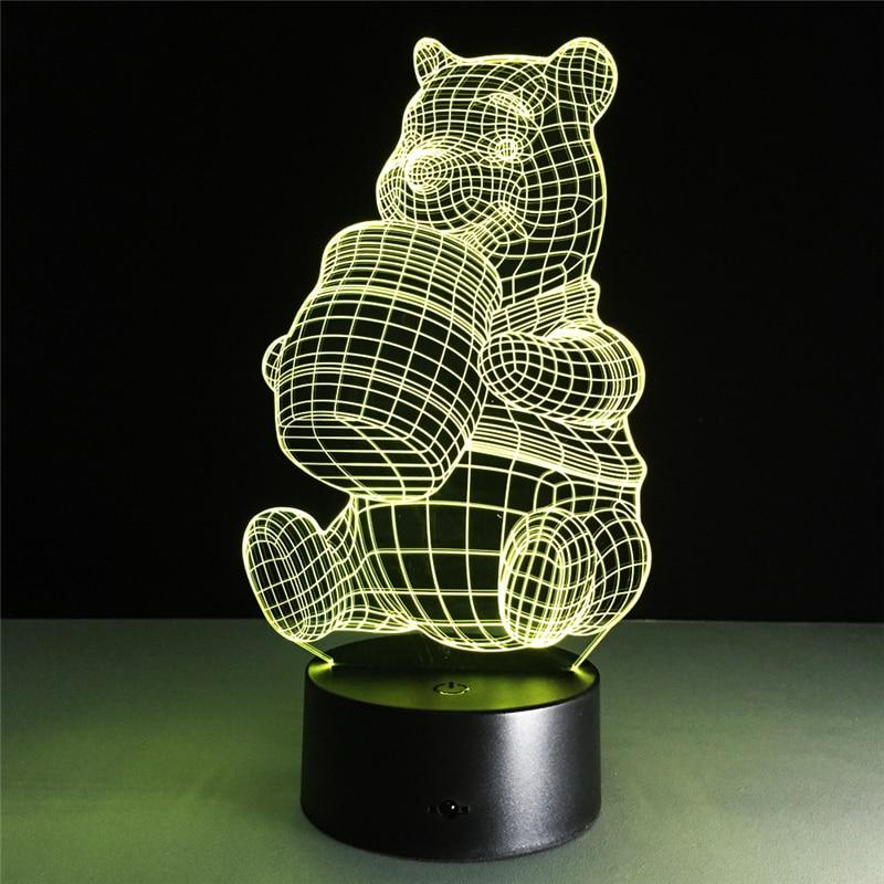Acrylic 7 Color Honey Bear 3D Flower LED nightlight of bedroom lamp livingroom lights desk table Decoration Night Light Kid Gift