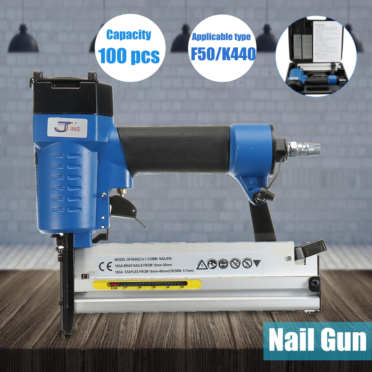 Portable 2 in 1 F50/K440 Electric Staple Air Nailer G un Straight Finishing Nail G un Woodworking Tool кристальный пазл 3d crystal puzzle яблоко зеленое
