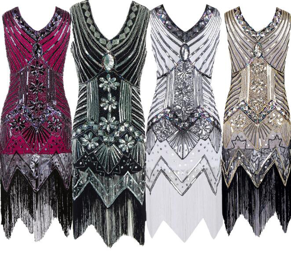 Womens Vintage 1920s V Neck Tassel Flapper Dress Fringe Sequin Swing Bodycon Sexy Dress Party
