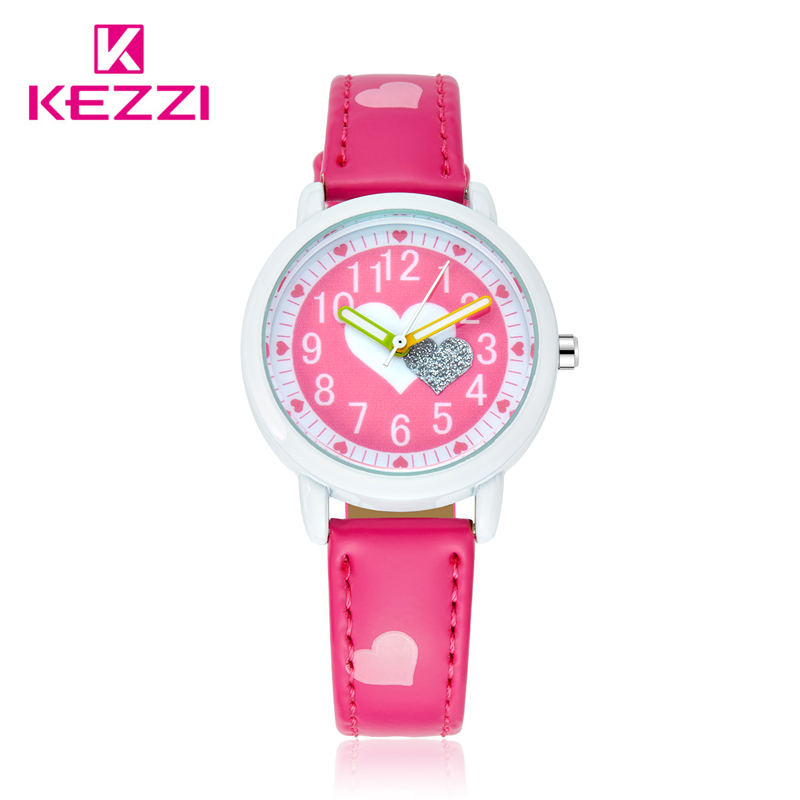 KEZZI Love Hearts child Watches Girl Leather Printing Strap Cartoon Kids Watch Students Quartz Wristwatch Casual Fashion Horloge все цены