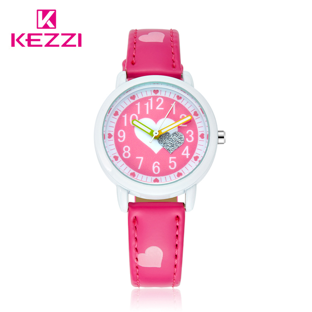 KEZZI Love Hearts child Watches Girl Leather Printing Strap Cartoon Kids Watch S
