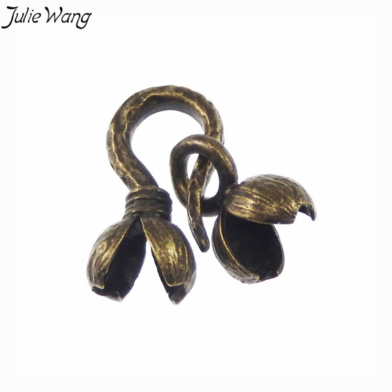 Julie Wang 8PCS Antique Bronze Double Flower Blossom Brass Clasps Retro Necklace Jewery  ...