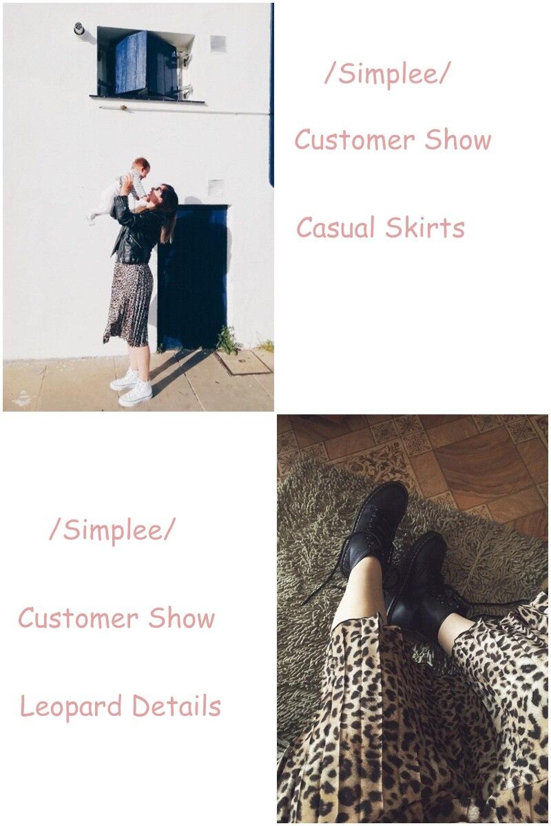 Simplee Vintage leopard print pleated skirts women punk rock korean skirt streetwear Drawstring elastic waist ladies midi skirt 1