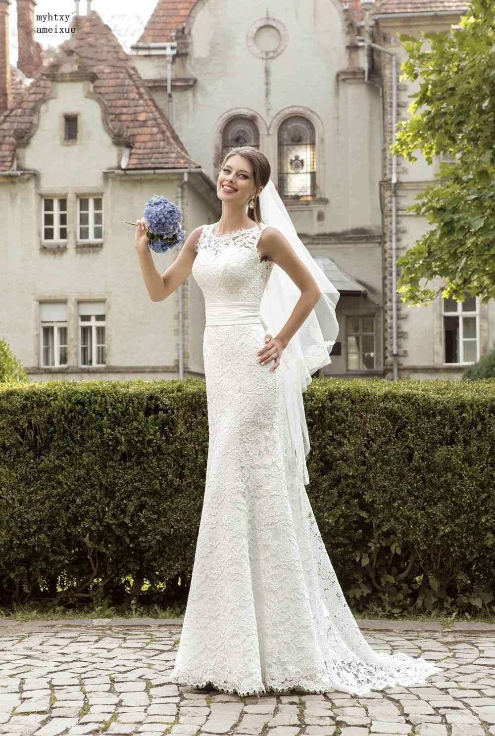 Fashion Lace Mermaid Backless Wedding Dress 2020 Sleeveless Sash Scoop Bride Gown Romantic Court Train Ribbon Tank Wedding Gown Aliexpress,Summer Elegant Pakistani Wedding Guest Dresses