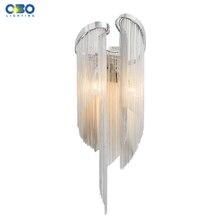 Современный настенный светильник с алюминиевой цепью для спальни, фойе, столовой, настенное освещение E14, держатель лампы 110-240 в