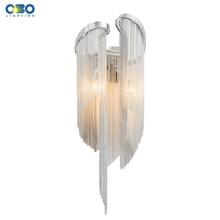 Moderne aluminium chaîne plaqué applique lampe chambre Foyer salle à manger éclairage mural E14 porte lampe 110 240V livraison gratuite