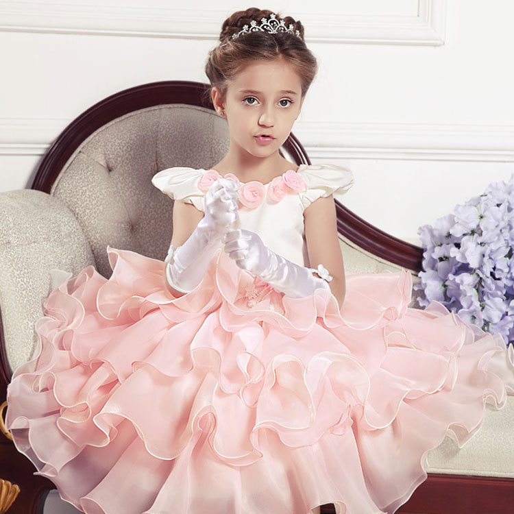 91891ebc26161 2017 flower girls cute ball grow layered mesh wedding party dress 2-8 age  kids children high quality costume dresses clothes 182