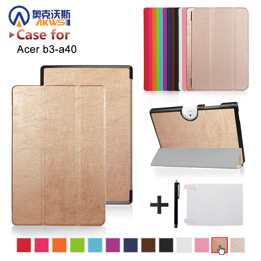 Leather Case For Acer Iconia One 10 B3 A40 Luxury Folio Color Printing Cover Case For