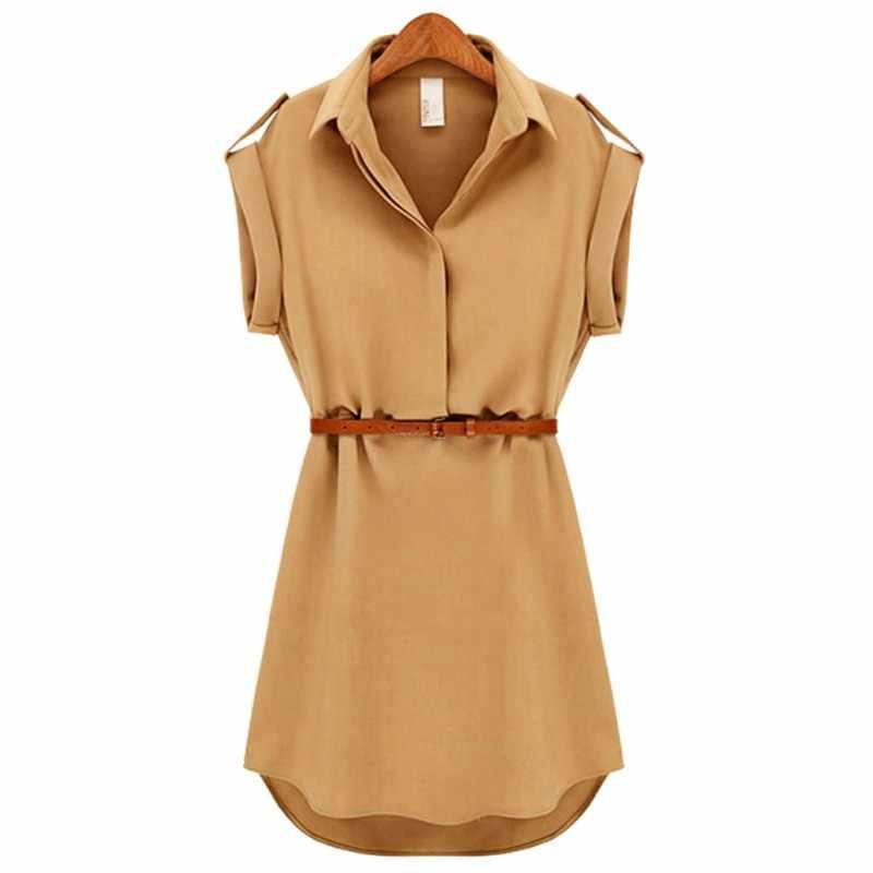 Новое летнее модное женское однотонное платье с коротким рукавом женское свободное шифоновое платье