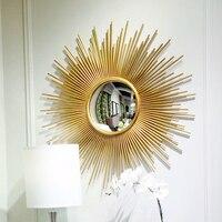 Творческий солнце Настенное подвесное зеркало Винтаж Статуэтка домашний декор ремесла украшения стены спальня, зал стекла, металла декора
