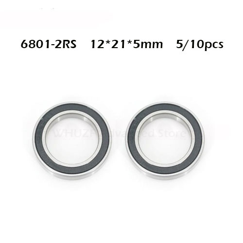 6801RS Bearing ABEC-1 (5/10PCS) 12*21*5 Mm Thin Section 6801-2RS Ball Bearings 61801 RS 6801 2RS With Black Sealed