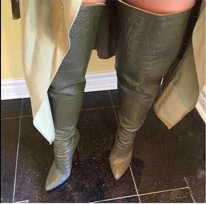 Lanshitina Women Snakeskin Print Leather Thigh High