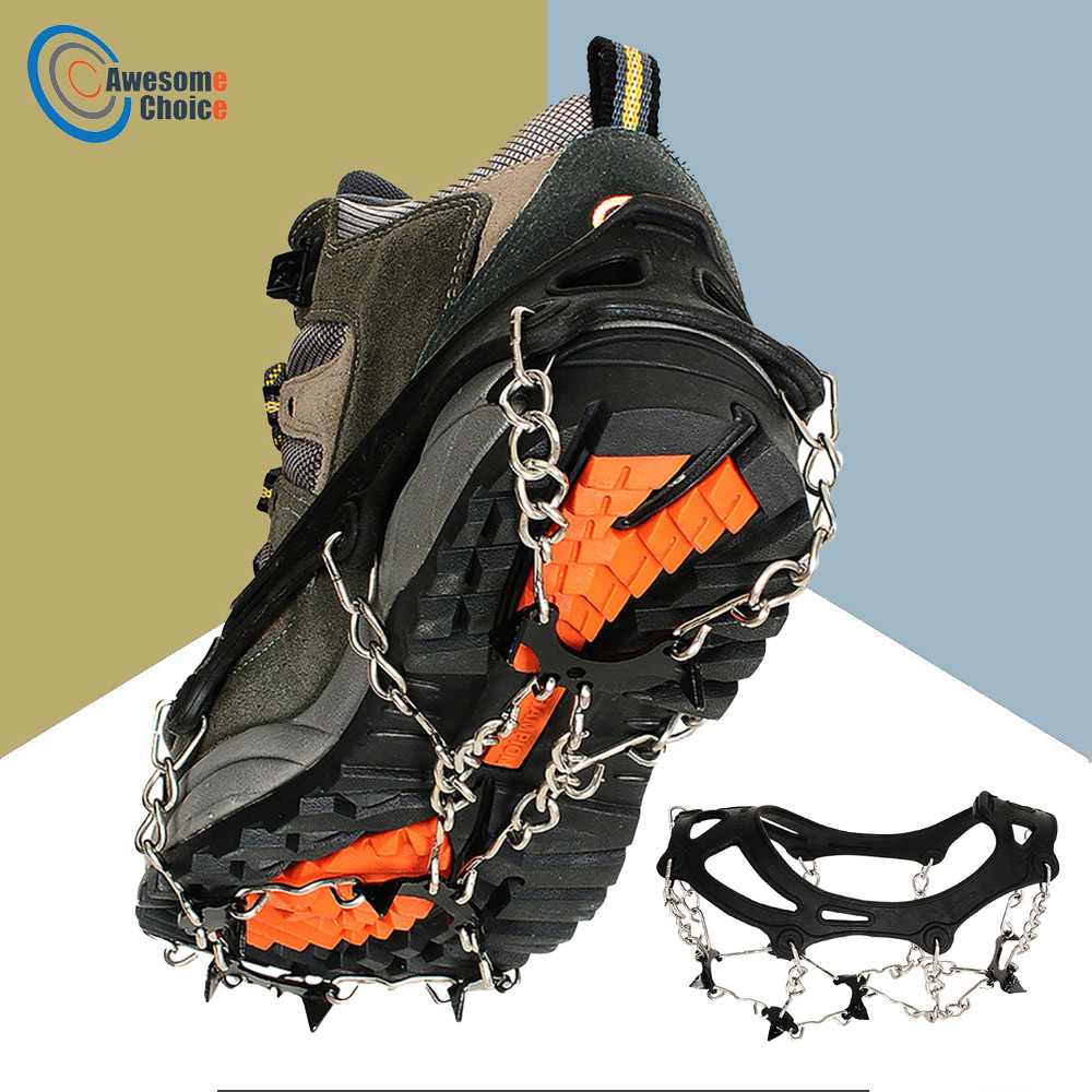 2pcs 8-Teeth 2 Size Sports Anti-Slip Ice Gripper Cleats Shoe Boot Grips Crampon Chain Spike Snow For Hiking Climbing