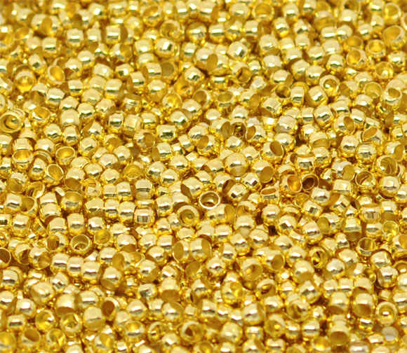 "DoreenBeads Alloy Crimp Beads Round Gold Color For DIY Unisex Gifts Crimp Beads Jewelry Findings 1mm 2mm( 1/8"") Dia, 250 Pieces"