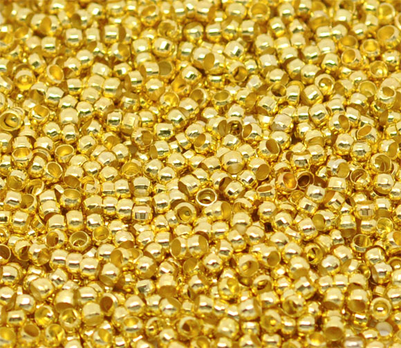 """DoreenBeads Alloy Crimp Beads Round Gold Color For DIY Unisex Gifts Crimp Beads Jewelry Findings 1mm 2mm( 1/8"""") Dia, 250 Pieces"""