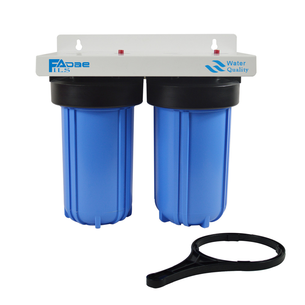 2-Stage Big Blue Whole House Water Filtration System 1 port ,include 10 PP Sediment, Activated Carbon Filter and wrench kristal big blue 10 pp 10mcr