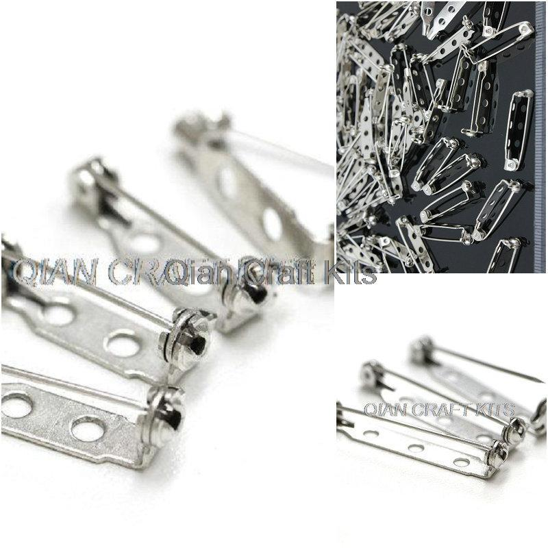 200pcs brass metal mixed sizes 20mm-32mm Silver Brooch Pin Backs Base Safety Locks metal brooch back pin w/ lockable catch bar