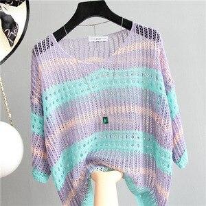 Image 3 - Sexy kobiet sweter w paski Mesh sweter z dziurami kobiet 2020 moda jesień luźne góra pół rękawa koszula z dzianiny Casual odzież