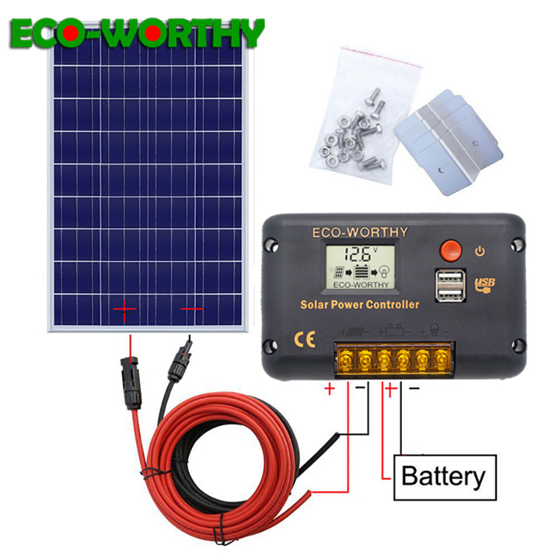 120W 18V Solar power Panel System 120W poly panel with 20A Controller with 5m black and