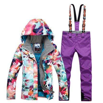 GSOU SNOW combinaison de Ski femme hiver extérieur coupe-vent imperméable épais chaud respirant veste de Ski pantalon de Ski taille XS-L - 3