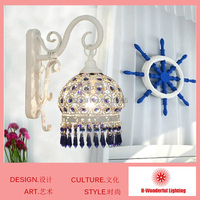 Creative Mediterranean Style Bedroom Bathroom Vintage Wall Lamp Blue Colored Crystal Decor Home Hotel Wall Light