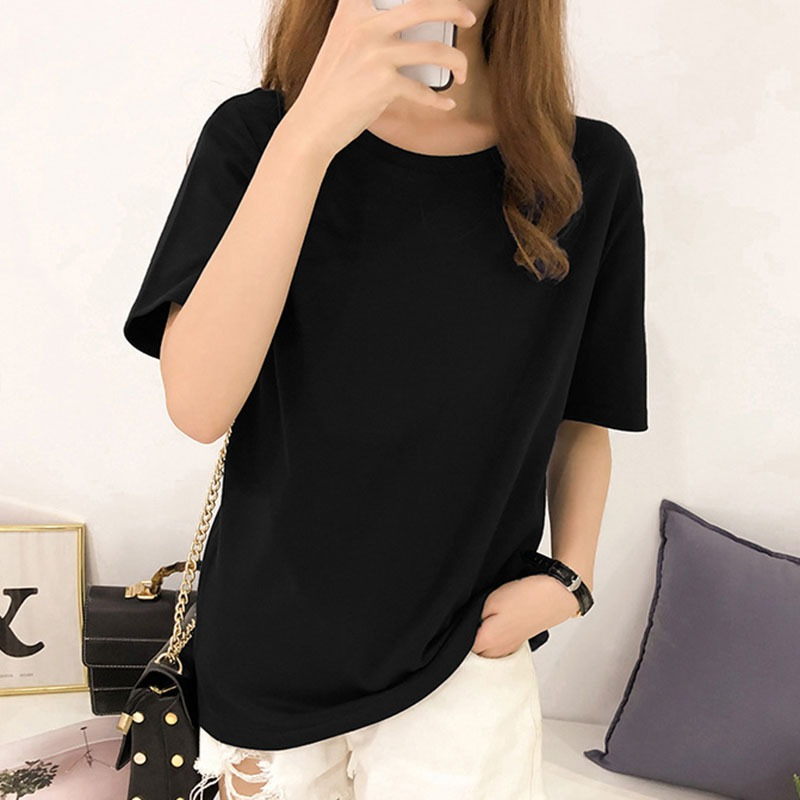 Women T-Shirts 2019 Summer Tee Shirt Women Solid Color Casual Loose Short Sleeve O-Neck Ladies Tees Tops Koran Female T Shirt