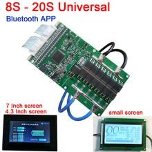 8S כדי 20S 400A 300A 80A ליתיום Lipo Lifepo4 LTO סוללת ליתיום הגנת לוח BMS Bluetooth APP 10S 13S 14S 16S + LCD תצוגה