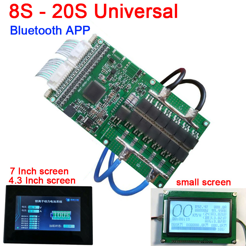 8S TO 20S 400A 300A 80A Li-ion Lipo Lifepo4 LTO Lithium Battery Protection Board BMS Bluetooth APP 10S 13S 14S 16S + LCD display