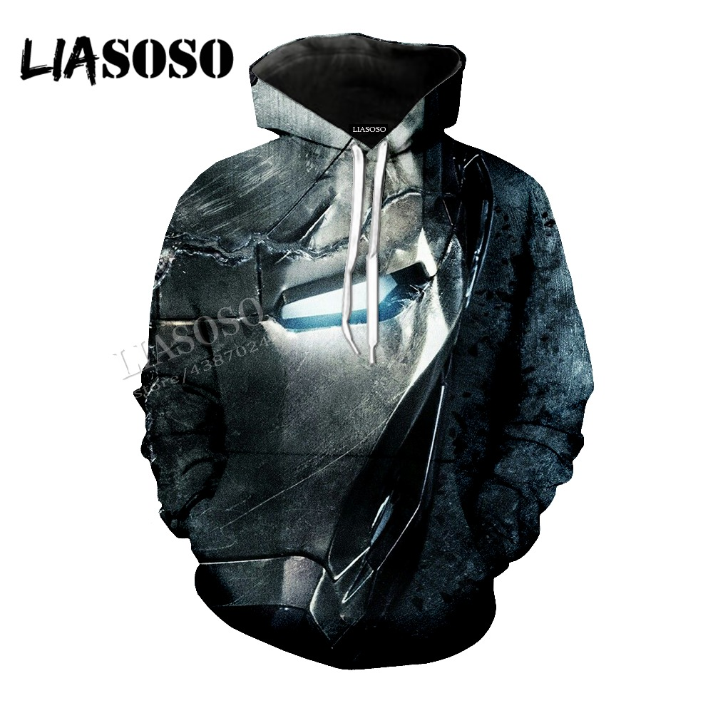 LIASOSO Marvel Comics Movie 3D Print Top Iron Man Simple clothes Men and Women Hoodie Zipper Clothing Sportswear Series CX185