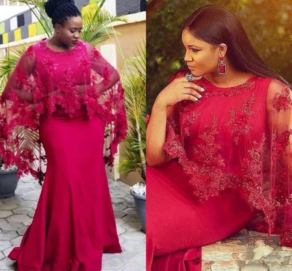 Rouge vert sirène robes de bal avec Cape Appliques robe de soirée pour les femmes grande taille robe de Cocktail 2019
