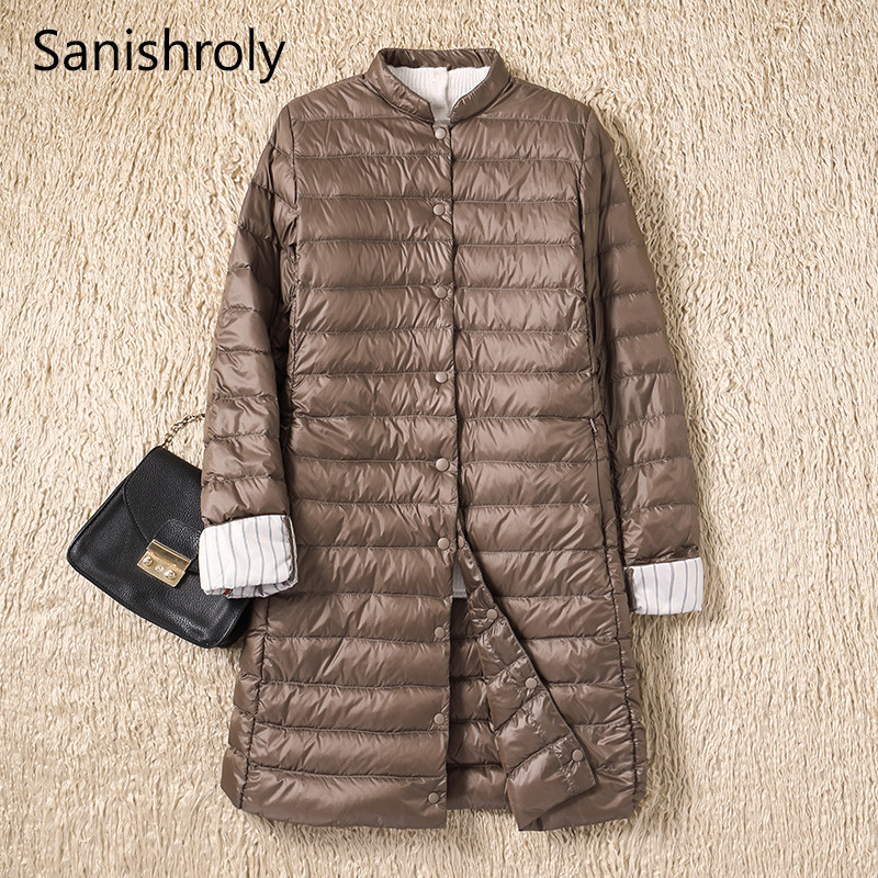 Sanishroly 2019 Women Midi Long   Coat   Autumn Winter Ultra Light   Down     Coat   Parka Female White Duck   Down   Jacket Plus Size 2XL SE593