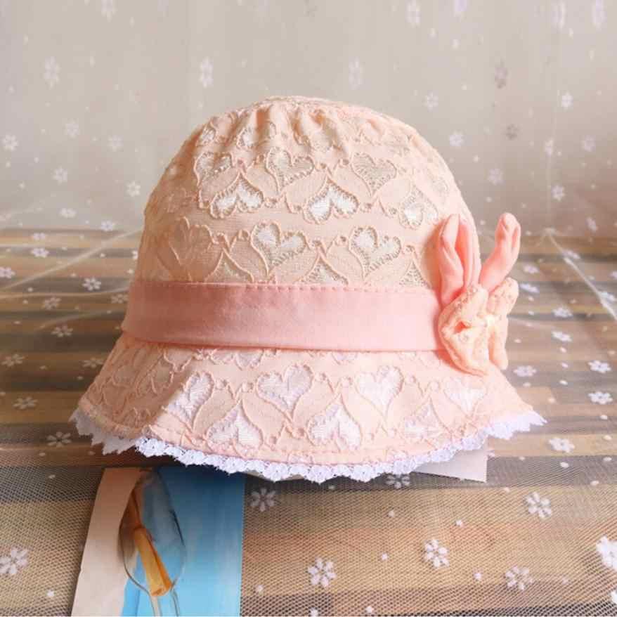 Cantik Fashion Bayi Perempuan Musim Panas Kartun Topi Bayi Peach Hati Percetakan Topi Fotografi Alat Peraga Renda Gadis Hat 0716