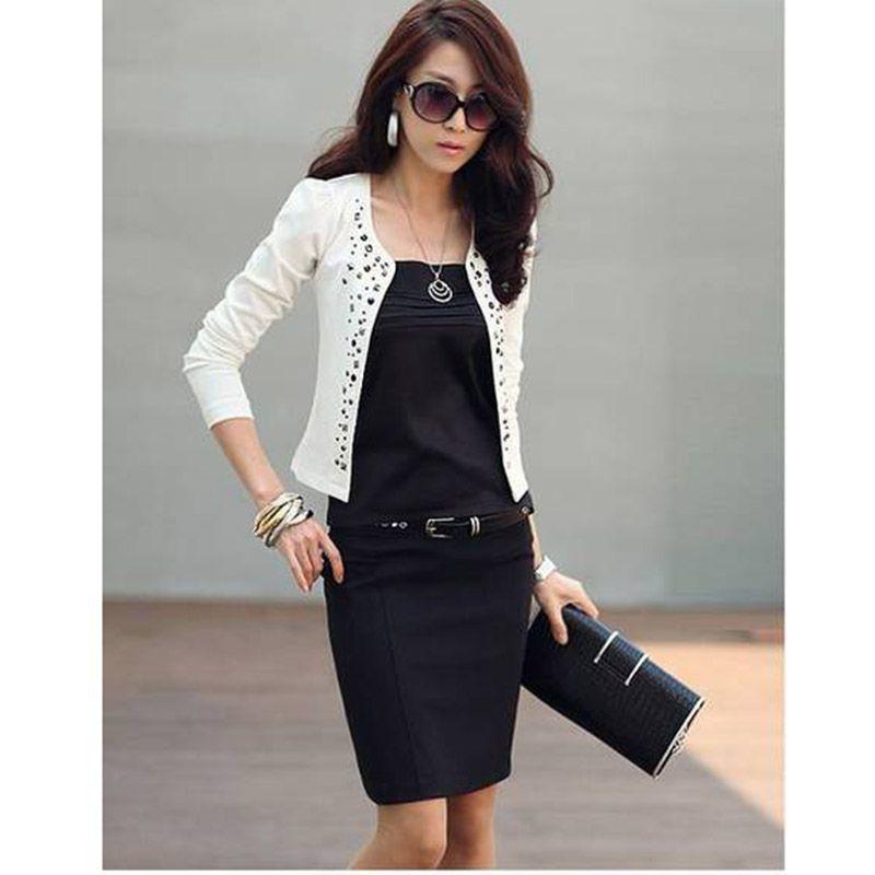 Women s Black Suit OL style elegant Jacket Rhinestone Rivet Puff Long  Sleeve Thin Short Coat for Spring Autumn-in Basic Jackets from Women s  Clothing on ... 6c277b2ed