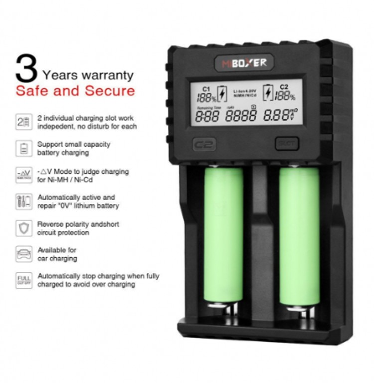 Miboxer C2 3000 Battery Charger 1.5A/slot 2-Slot LCD Screen with US Wall Charger Cable for Li-ion/IMR/INR/ICR/Ni-MH/Ni-Cd 18650 цена