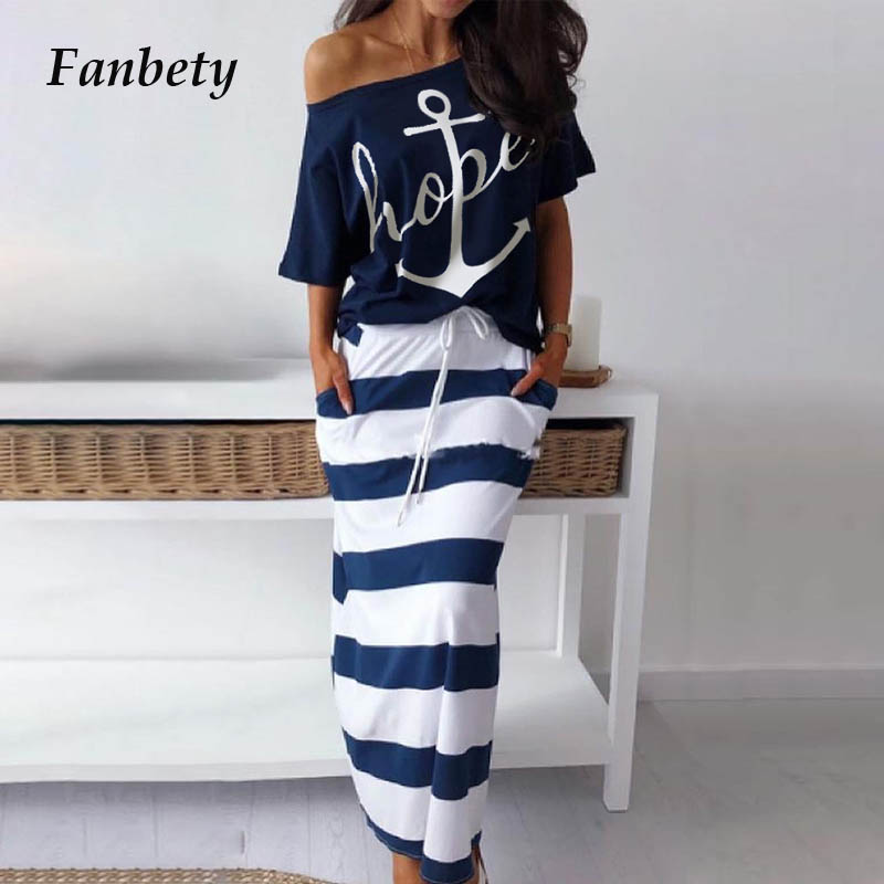 Fanbety Women Sexy Off Shoulder Two Piece Sets Dress Boat Anchor Print Shirts Striped Dress Sets Lady Casual Ankle-Length Dress