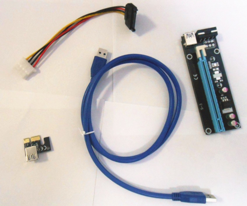 PCI-E PCI Express Riser Card 1x to 16x USB 3.0 Data Cable SATA to 4Pin IDE Molex Power S ...