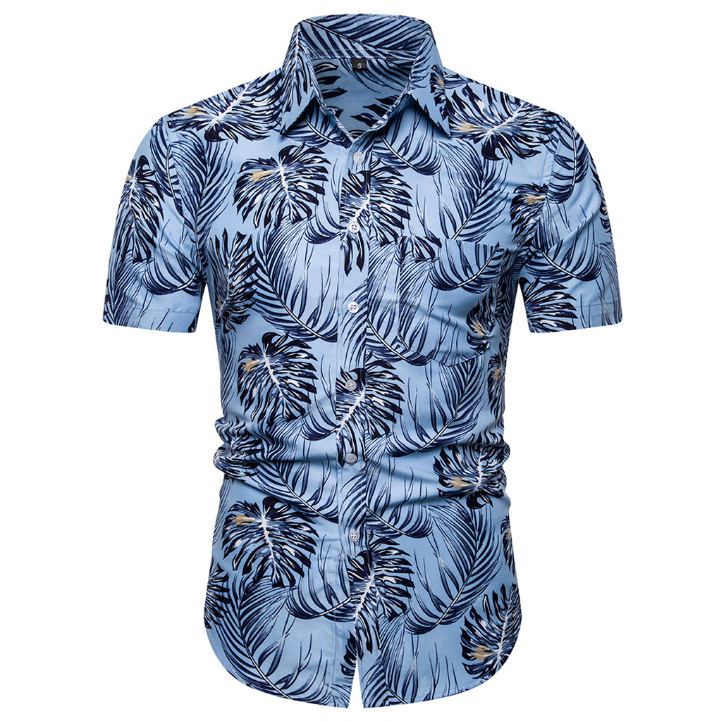 Shirt Fashion Men's Casual Button Hawaii Print Beach Blouse 2019 Summer Short Sleeve Quick Dry Top Hawaiian Shirt  June19