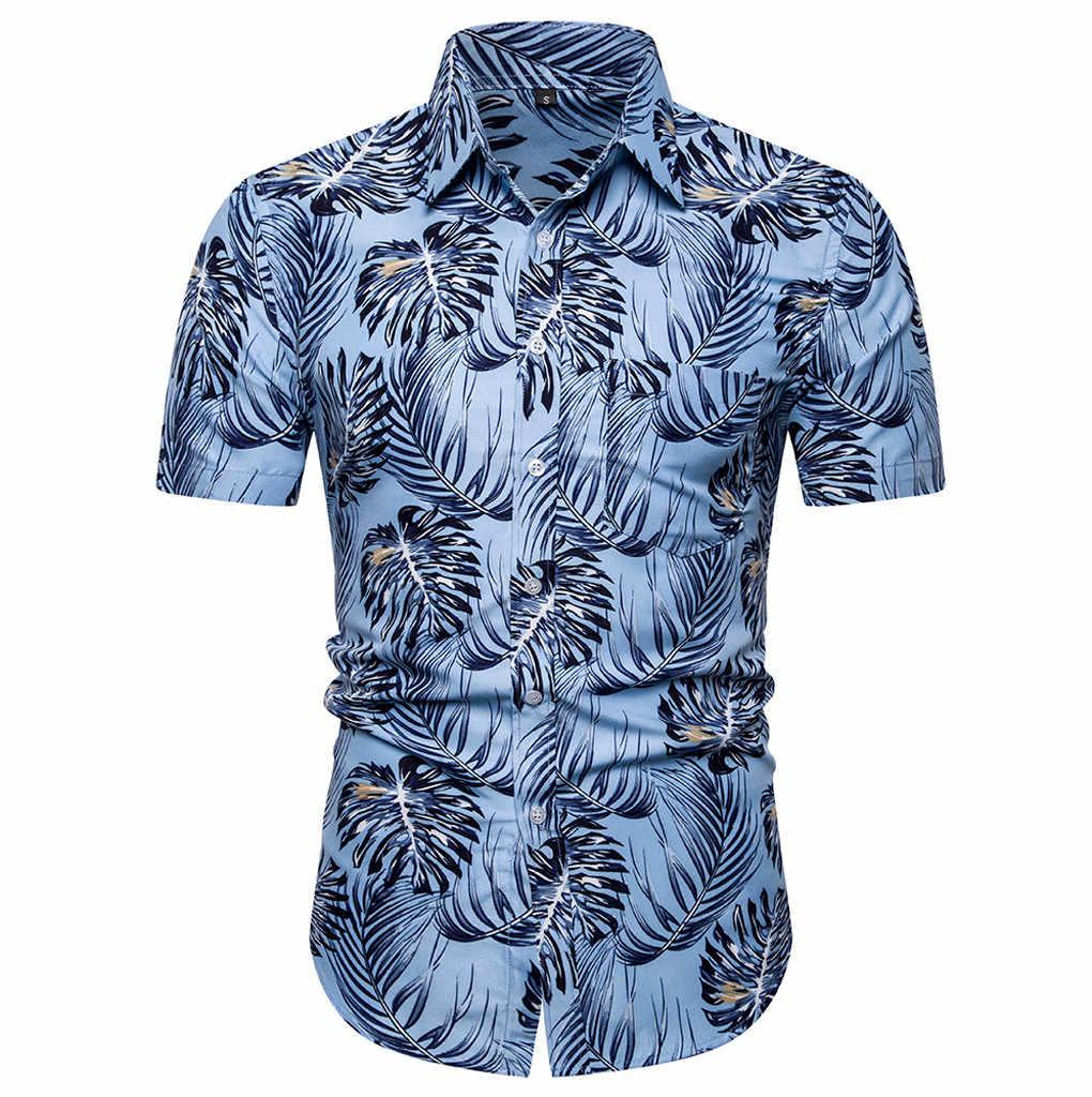 シャツファッション男性のカジュアルボタンハワイプリントビーチブラウス 2019 夏半袖クイックドライトップアロハシャツ June19