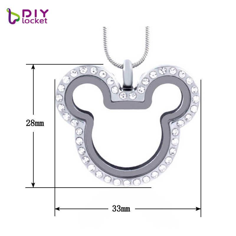 Diylocket Mickey Strass Magnetische Glas Drijvende Charme Medaillon Ketting Hanger (Ketens Gratis Meegeleverd) LSFL013