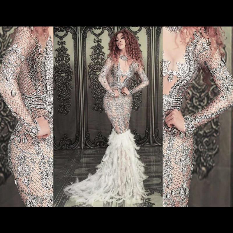 Sexy bal nu strass plume robe femmes Stretch cristaux traînant longue robe fête chanteur scène Costumes