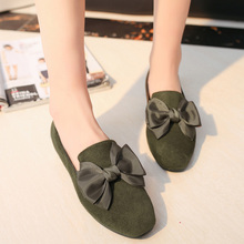 AD AcolorDay Hot Sale 2017 Vintage Moccasins Women Loafers Bowtie Solid Suede Spring Autumn Shoes Casual Cheap Flat Shoes Women