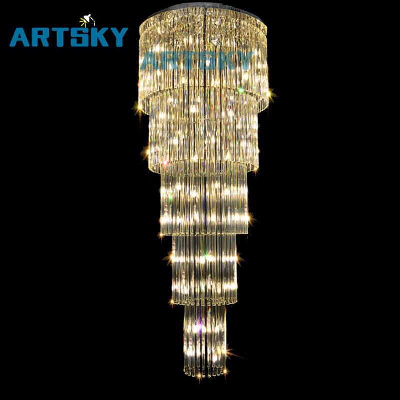 Cristal En Verre Plafond Luminaire Grand lustre de cristal lampe pour escalier escaliers cristal Escalier Lampe 10 Bon Marché Lustre Grand Diametre Phe2
