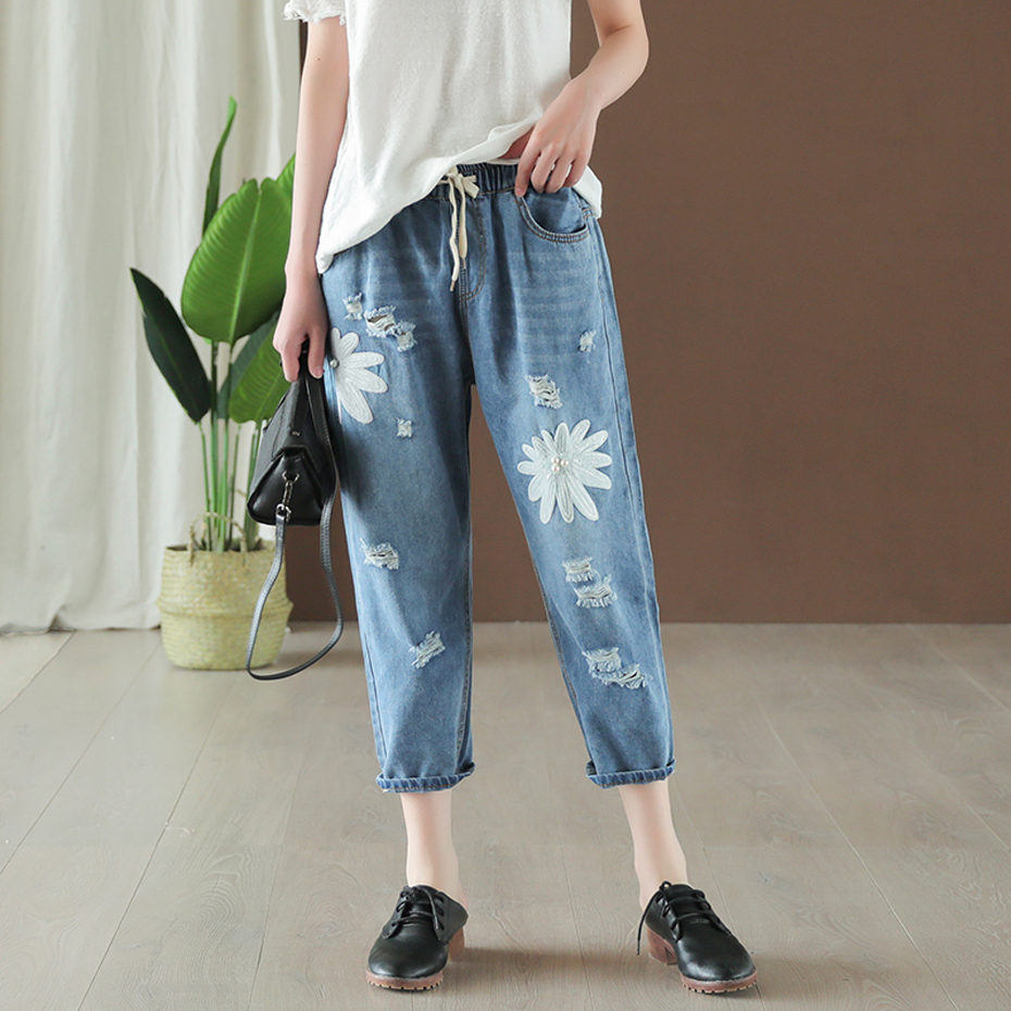 Women Jeans Denim Pants Capris Cute Sweet Casual Fashion For Summer Big Loose Embroidery Beading Floral Elastic Waist AZ24311417