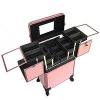 Алюминий Рама тележки путешествия сумка макияж коробка Красота инструментов многослойная Профессиональный чемодан универсальные колеса