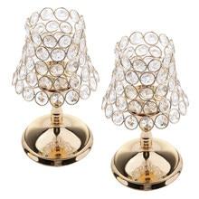 2 Stuks Gold Pijler Bureaulamp Crystal Votive Kandelaar Centerpieces Voor Bruiloft Decoratie Kaars Lantaarn 22 Cm Hoogte